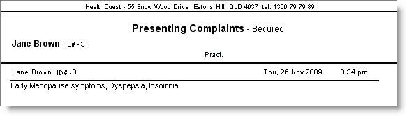 Secure Presenting Complaints